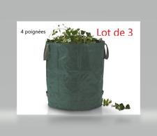 3x Sac à déchets de jardin 272L 65kg - Feuilles déchets jardin branches - Solide