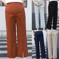 Women Mom Maternity High Waist Pants Pregnancy Casual Wide Leg Straight Trousers