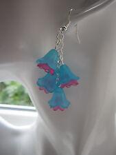 Long Drop / Dangle Earrings - Fuschia / Flower Cluster - Turquoise / Hot Pink