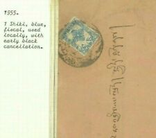 BHUTAN Cover 1 Shiki Blue Fiscal Used Locally 1955 Black Cancel {samwells} Ap68