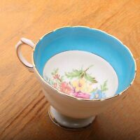 Rosina Bone China Tea Cup Made In England Blue and Floral Pattern