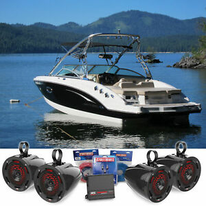 """(4) MTX 6.5"""" Marine Wakeboard Tower Speakers+LED's+2-Channel Amplifier+Wiring"""
