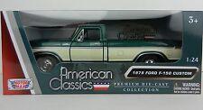 1:24 MOTOR MAX *1979 FORD F150 PICKUP TRUCK* Green & Cream *DIECAST* NIB!