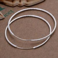 925 Silver Large Hoop Earrings Big Round Circle Buckle Simple Ear Jewelry Women