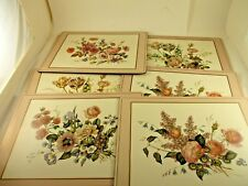 """7 PIMPERNIL FLORAL PLACE MATS 4 PATTERNS VERY GOOD CONDITION 16 X 11 3/4"""" SIZE"""