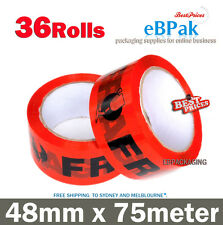 Fragile Packing Tape - RED & Black - 48mm x 75m 75 meter Packaging Tape x36