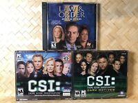 PC Game Lot of 3 CSI: Crime Scene Investigation, Dark Motives, Law and Order 2
