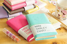 Mini Smiley Diary Notebook Memo Book leather Note Pads Stationery Pocketbook OZ