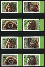 Laos Lao 2008 WWF Weißhandgibbon Affen Monkeys 2062-65 A und B Perf Imperf MNH