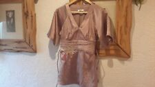 Vila Silky Satin Bronze Brown Chinese Oriental Kimona Style Top Size S UK 8/10