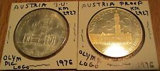 Austria 100 Schilling 1976 Winter Olympic Silver Proof & BU 2 Coin Eagle # 2927