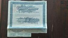 ACTION CREDITUL CARBONIFER / ACTIUNE 500 LEI / BUCARESTI 1927