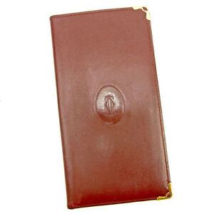 Cartier Wallet Purse Mastline Red Gold Woman unisex Authentic Used Y6631