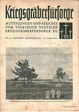 Zeitschrift 1950 Dezembe Kriegsgräberfürsorge Mitteilungen Berichte 26. Jahrgang