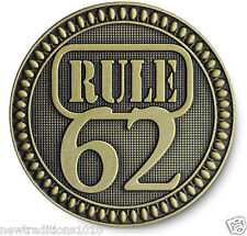 """Antiqued Bronze '""""RULE 62"""" AA/NA/12 Step Recovery Program Coin /Token/Chip"""