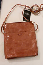 BNWT OSPREY LONDON Tan Colour, Iris-splash Leather Patent Cross Body Bag.