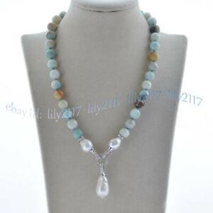 10mm Multi-Color Amazonite & Natural White Keshi Baroque Pearl Pendant Necklace