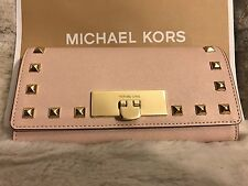 NWT MICHAEL KORS SAFFIANO LEATHER CALLIE STUD CARRYALL WALLET IN BALLET