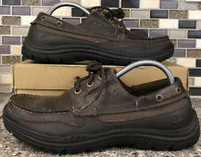 Skechers Mens 8.5 Shoes Relaxed Fit Boat Deck Brown Memory Foam Leather 64114