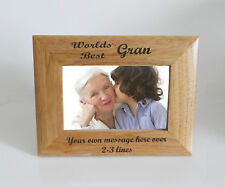 Worlds Best Gran 6 x 4 Wooden Photo Frame  - Personalise this frame  Free eng