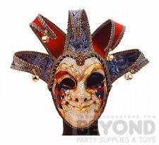 Venetian Mardi Gras Jester Joker Masquerade Mask for Men- Red Blue