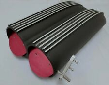 BLACK FINNED ALUMINUM STREET ROD BUTTERFLY DUAL / SINGLE CARB SHOTGUN HOOD SCOOP