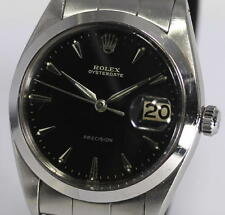 Auth ROLEX Ref.6694 Cal.1210 OYSTERDATE Black Glossy Gilt dial Men's _283487