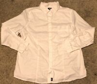 Lee Uniforms Juniors' Slim Fit Long-Sleeve Oxford Blouse White 2X-Large 2XL Plus