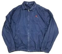 Vtg Polo Ralph Lauren Men's Golf Harrington Denim Blue Jean Dad Zip Jacket L USA