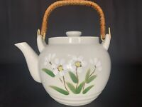 Vintage Otagiri Japan Floral Teapot White Daisy Flowers Hand Painted