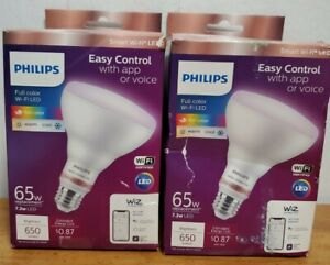 SET OF 2 PHILIPS FULL COLOR WI-FI LED 65w REPLACEMENT EASY CONTROL WITH APP