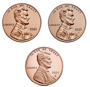 2021 P+D+S Lincoln Penny Set - BU Coins from Bank Roll / Proof Set