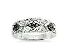 Black Diamond Ring  10K White Gold Black & White Diamond Band .25ct