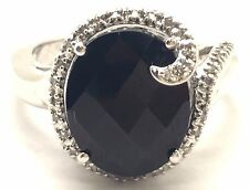 Sterling Silver Black Onyx Garnet Border Diamond Grasp Cradle Cocktail Band Ring
