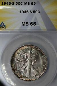 1946-S  .50  ANACS  MS 65  Walking Liberty, Half Dollar, Lady Liberty Half