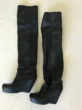 RARE Rick Owens 38  Over Knee Black Leather Boots Platform Wedge Boot RRP $4600