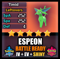 Pokemon Sword and Shield SHINY 6IV Espeon BATTLE READY IV Competitive FAST