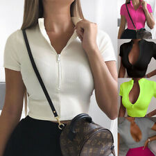 Womens Short Sleeve Crop Tops Ribbed Sexy Zip Up Low-cut T Shirt Cami Top Blouse