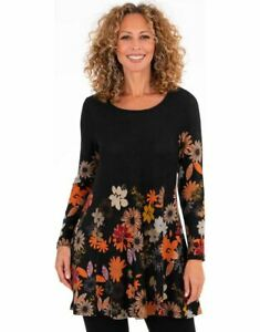 Floral Printed Brushed Knit Tunic - Black L - Ladies Womens - Klass Collection