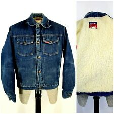 Vintage Big Smith Blue Denim Sherpa Lined Trucker Western Jean Jacket Mens M