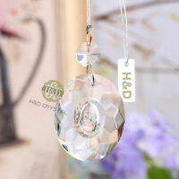 10 Clear Chandelier Cut Crystal Egg Shape Prism Hanging Pendant Suncatcher 50mm