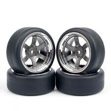 4X 1:10 Flat Hard Drift Tires Wheel Rim For HSP HPI RC On-Road Car PP0038+PP0338