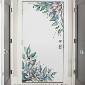 Removable Wall Stickers Nursery Green Leaves Pink Flowers Corner Door Decals AU