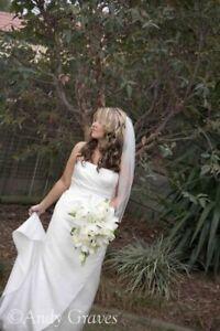 Pale Ivory Wedding Dress with Swarovski Crystals By Wendy Makin  - Size 12