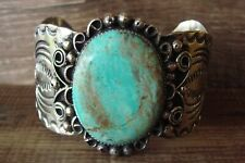 Navajo Jewelry Nickel Silver Turquoise Bracelet by Albert Cleveland!