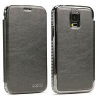 Urcover® Samsung Galaxy S5 Kunststoff Aluminium Diamond Wallet Cover Case Hülle