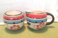 Tabletops Gallery Salina Cream And Sugar Bowls Hand Painted Red And Blue