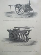 ANTIQUE PRINT C1800'S W CROSSKILL'S WATERCART SELF CLEANING CLOD CRUSHER ROLLER