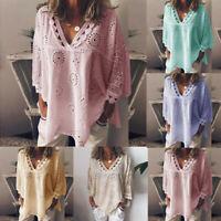 Women Half Sleeve Hollow Out V Neck Lace Patchwork T-Shirt Blouse Tops Plus Size