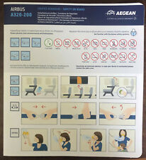 Aegean Airlines Airbus A320 safety card brand new February 2019 issue !!!